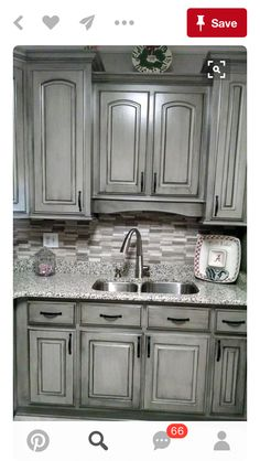 Stunning Painted Display case Suggestions & Motivation pertaining to bathroom or kitchen. Repainting Kitchen Cabinets, Distressed Kitchen Cabinets, Glazed Kitchen Cabinets, Kitchen Cabinets Pictures, Kitchen Cabinet Colors, Kitchen Redo, Home Decor Kitchen, Rustic Kitchen, Home Kitchens