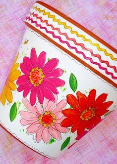 Hand Painted Flower Pot 6 Inch Zinnia Fiesta