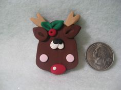 Red Nose Reindeer Hairbow Center - Christmas - Polymer Clay - $1.95