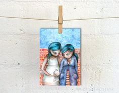 A personal favourite from my Etsy shop https://www.etsy.com/listing/245444269/art-card-of-2-quirky-girls-and-a-bird