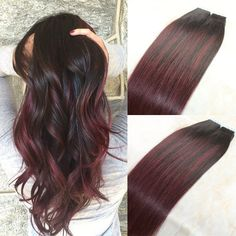 Ombre Burgundy Tape In Human Remy Hair Extension 99J Red Straight Glue Balayage | Health & Beauty, Hair Care & Styling, Hair Extensions & Wigs | eBay!