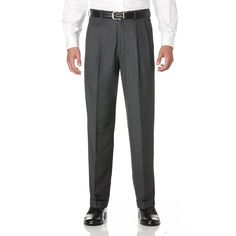 Big & Tall Savane Crosshatch Straight-Fit Easy-Care Pleated Dress Pants, Men's, Size: 44X
