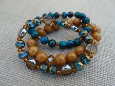 Bohemian Style Teal And Butterscotch Stretch Bracelet Set by AllStrungOut925
