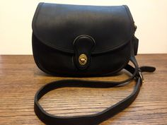Vintage Coach Prairie Purse 9954 Black Glove Leather Saddle Cross body Bag  USA  Coach   1889d2eabadfe