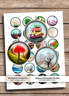 Nature Circles 1 20mm 30mm 1.5 Zen Stones Red by MobyCatGraphics