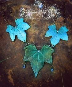 Ivy necklace by EMasqueradeGallery Polymer Clay Projects, Polymer Clay Jewelry, Ivy Leaf, Fairy Wings, Craft Stick Crafts, Handmade Art, Plant Leaves, Masquerade, Biscuit