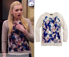 JESSIE: SEASON 3 EPISODE 22 EMMA'S FLORAL PANEL FRONT SWEATSHIRT Posted on October 18, 2014 by Kirsty Emma Ross (Peyton List) wears this Cream Taupe Navy Floral Front sweatshirt in this episode of Jessie.  It is the J.Crew Merino silk-panel sweater in antique floral.