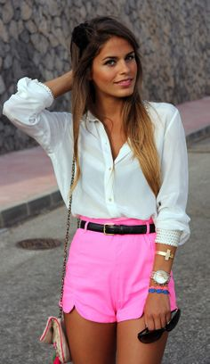 Love the pink, and the high-waister shorts. The rest is perfect too!