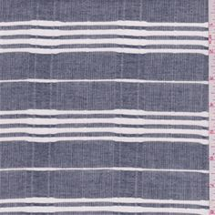 Dark navy oxford look with white yarn dyed horizontal stripes. Lightweight pure cotton fabric with vertical twill stripes. Soft and crisp hand. Suitable for shirts and blouses. Machine washable.Compare to $12.00/yd
