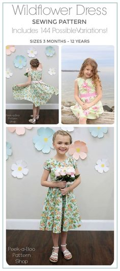 The Wildflower Dress Sewing pattern is packed with so many options you can sew 144 different dresses! Wildflower Dress PDF Sewing Pattern: Girls Dress Pattern, Baby Dress Pattern, Flower Girl, Party Dress #sewing #sewingpattern #ad #dress #modestfashion #diy