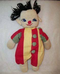 Vintage Sock Doll Striped Clown Outfit by ALEXLITTLETHINGS on Etsy