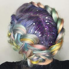 Rainbow Braid + Glitter Roots (note: same poster as Earthy Unicorn Hair) Glitter Roots, Glitter Hair, Glitter Bomb, Glitter Slides, Glitter Lipstick, Glittery Nails, Coloured Hair, Unicorn Hair, Rainbow Hair