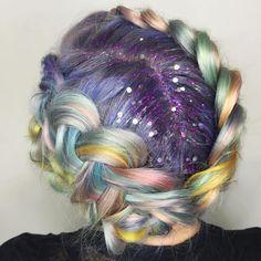 Glitter hair rainbow braid fantasy hairstyle