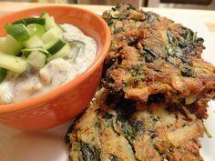 Greek Spinach, Potato and Feta Latkes with Tzatziki Sauce