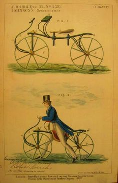Johnson's specification, printed in 1857 by George Edward Eyre and William Spottiswoode Old Bicycle, Bicycle Art, Old Bikes, Bicycle Illustration, Antique Bicycles, Bike Poster, Hobby Horse, Cartoon Shows, Vintage Bicycles