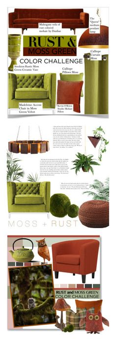 """Winners for Color Challenge: Moss Green and Rust"" by polyvore ❤ liked on Polyvore featuring interior, interiors, interior design, home, home decor, interior decorating, Kevin O'Brien, colorchallenge, mossgreenandrust and Dot & Bo"