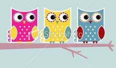 Funky owls Royalty Free Stock Vector Art Illustration - like all 3