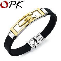ee0449129382 OPK pulseras de hombre de silicona moda de acero inoxidable escorpión  diseño longitud ajustable fresco hombres joyería Brazaletes ph1085