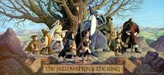 """Frodo and the Fellowship Of The Ring miniature figures assembly. Why do I get the crazy notion in my head that here they were just about to sing in unison, """" Look at all my trials and tribulations, sinking in a gentle pool of wine..."""" Hahaha.#FrodoBagginsSuperstar."""