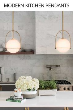 These gold pendant lights look great in any modern kitchen. Perfect for kitchen … These gold pendant lights look great in any modern kitchen. Perfect for kitchen island lighting. Kitchen Lighting Fixtures, Kitchen Pendant Lighting, Kitchen Pendants, Island Pendants, Kitchen Island Lighting Modern, Gold Pendant Lights, Kitchen Island Light Fixtures, Over Island Pendant Lights, Kitchen Lights Over Island