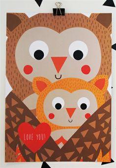 Print Love You Owls. Design Sara Vestberg