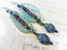 Shadow Veil. Victorian tribal assemblage by fancifuldevices. Roman glass, garnet, sterling silver, brass