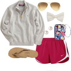 Ray bans, rainbows, a bow, norts, and a pullover ... #pulloveroutfit