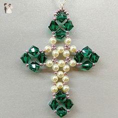 Cross Jewelry, Cross Earrings, Seed Bead Earrings, Beaded Jewelry, Beads And Wire, Pearl Beads, Beaded Earrings Patterns, Beaded Cross, Bead Loom Bracelets