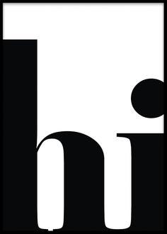 Svart och vit texttavla med grafiska bokstäver.
