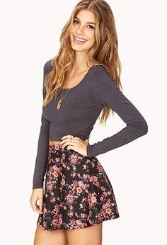 Crop top with high waisted skater skirt | High waisted ...