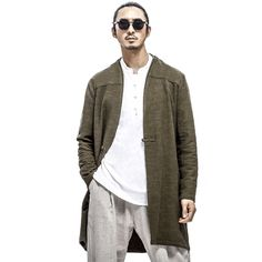 Mens Vintage Simple Cotton Linen Blend Coat