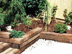 design for railway sleepers to enhance garden stream bank Patio Edging, Garden Edging, Garden Borders, Little Gardens, Back Gardens, Outdoor Gardens, Garden Spaces, Garden Beds, Sloped Garden