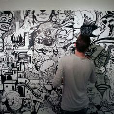 black and white illustrated mural   ... , Black And White Murals And Art Installations. - #33515 - NOTCOT.ORG