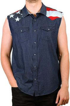 78895a182d11d Cody James Men s Union American Flag Denim Shirt  29.99   Country Outfitter