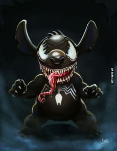 Stitch / Venom is listed (or ranked) 1 on the list 20 Pieces Of Outstanding Disney/Marvel Mashup Fan Art Dark Disney, Disney Art, Disney Marvel, Marvel Art, Marvel Venom, Marvel Comics, Disney Drawings, Cute Drawings, Gato Alice