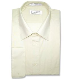941680552b699 Men s Cream Dress Shirt Convertible Cuffs sz 18 1 2 34 35 Covona http