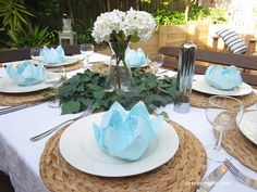 Blue and White Tablescape and How to Fold a Lotus Flower Napkin | Desire Empire