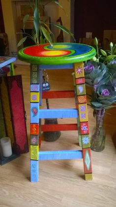 Handpainted bespoke boho stool by DooLallyAlleyArt on Etsy