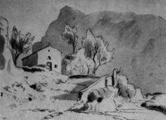 COMMUNITY ARTISTICA CULTURALE google+ INVITO in Allegato;SUBIACO SCORCI D'ARTE:IL PITTORE CARL BLECHEN (1798-1840 Germania) A SUBIACO E NELLA VALLE DELL'ANIENE nel 1828-1829 Blog informativo con foto-dipinti  Foto-disegno:  - Subiaco, Cappella di S. Maria dell'oro con il monte Francolano (1829)