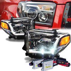 HID Xenon + WJ 2014-2015 Toyota Tundra Fiber-Optic LED DRL Projector Headlights - Chrome