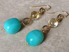 Stone dangle earrings, opal jasper and citrine