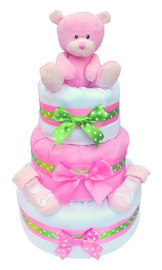Little Ella 3 Tier Baby Girl Nappy Cake - Labours of Love Baby Gifts