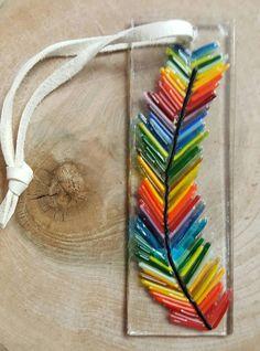 Fused glass Feather boho hippie style suncatcher wall