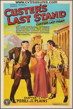 """Western Movie Posters  """"Custer's Last Stand"""" 1936 three sheet original vintage film poster.  See it at www.cvtreasures.com , Conway's Vintage Treasures   Linen Backed   .  $875"""