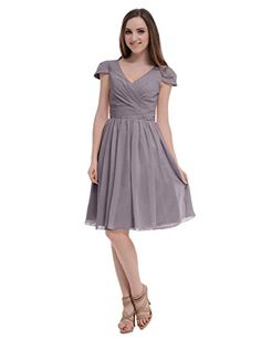 Tidetell V Neck Bridesmaid Short Chiffon Prom Party Drrsses with Cap Sleeves Grey Size 18W Tidetell http://www.amazon.com/dp/B00T2MY6BQ/ref=cm_sw_r_pi_dp_Jospvb1NPZRE1