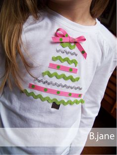 ricrac and ribbon tee. could probably make a boy version too if you left out the ricrac and bow and used boy colors