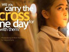 """Das Facebookcover zur Aktion """"Willst du für einen Tag das Kreuz mit ihnen tragen? Faste und bete am Aschermittwoch für den Irak und Syrien."""""""