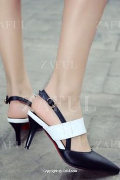 Slingback Color Block Pointed Toe Pumps