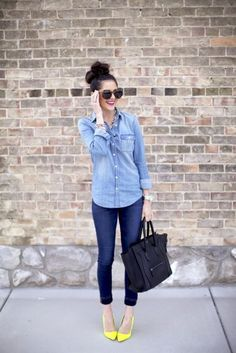 With denim shirt, crop jeans and black bag - Styleoholic