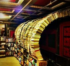 The Last Bookstore at Downtown LA. I would feel like a kid in a playground being in a place like this!